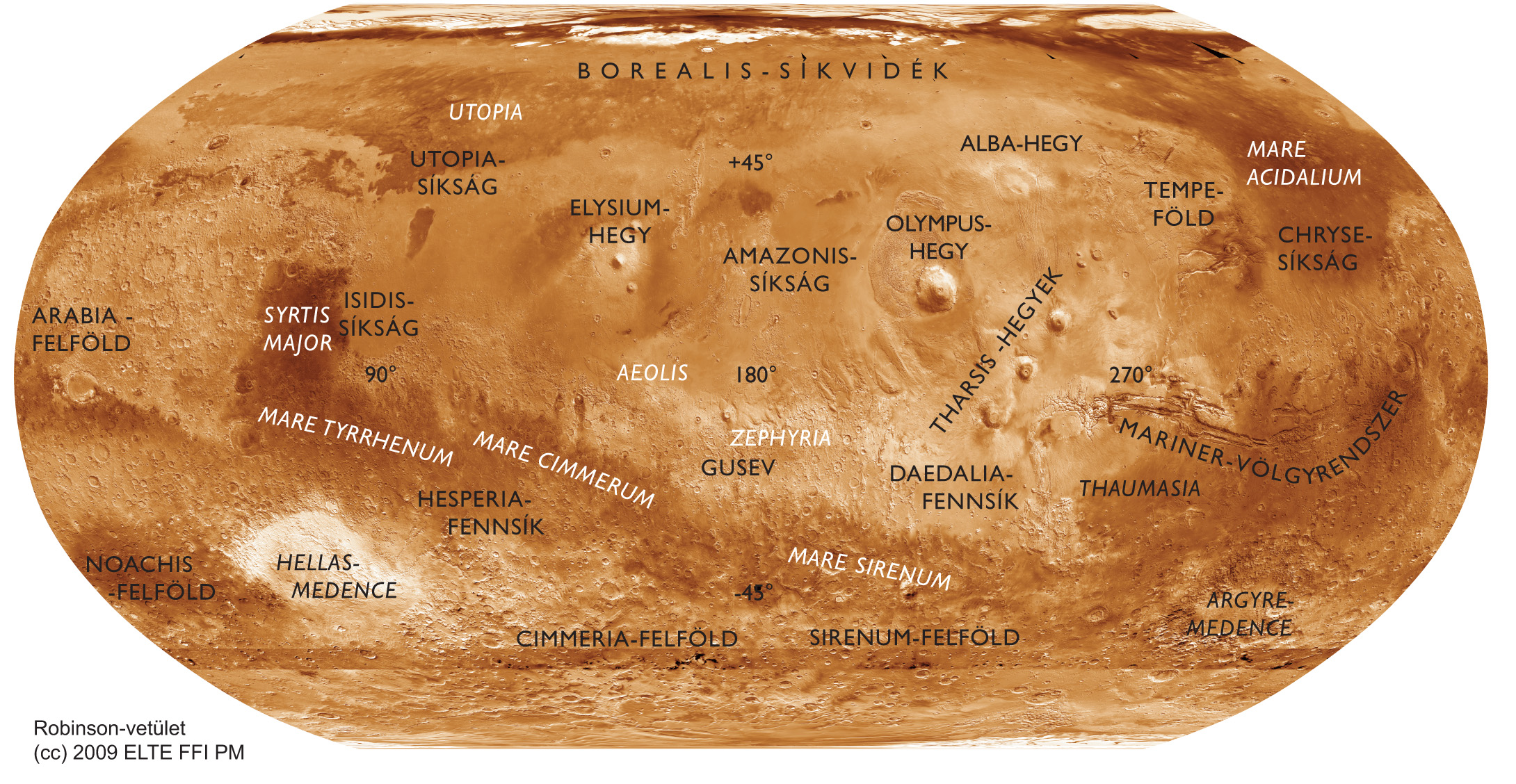 Download Large version of Composite map of Mars in Hungarian