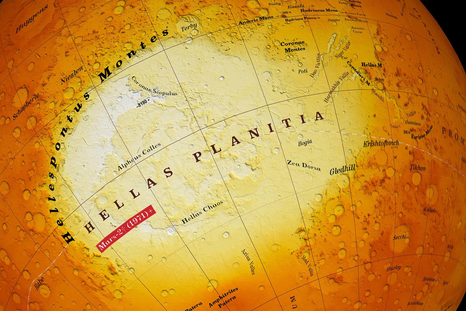 Карта Марса с изображением равнины Эллада. Фото:planetologia.elte.hu